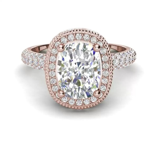 Halo 2.25 Carat VS2 Clarity F Color Cushion Cut Diamond Engagement Ring Rose Gold 3