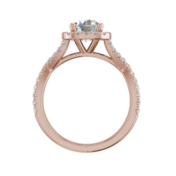 Infinity Halo 2.9 Carat VS1 Clarity H Color Round Cut Diamond Engagement Ring Rose Gold 2
