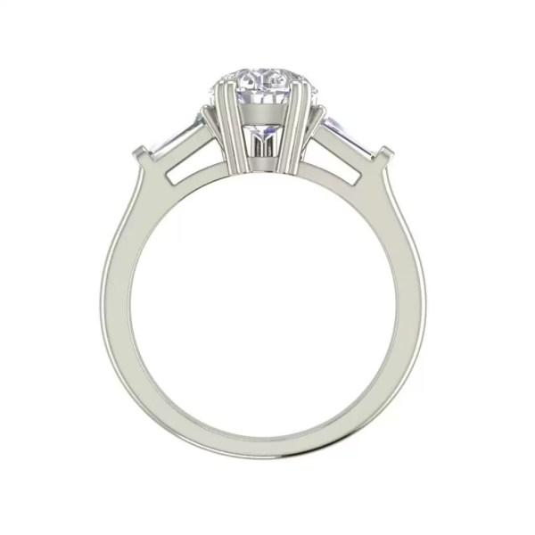 Baguette Accents 1.5 Ct VVS1 Clarity D Color Pear Cut Diamond Engagement Ring White Gold 2