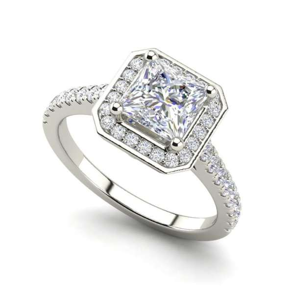 Halo Pave 3.2 Carat VS1 Clarity D Color Princess Cut Diamond Engagement Ring White Gold