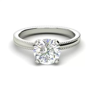 Milgrain Solitaire 0.75 Ct VS2 Clarity F Color Round Cut Diamond Engagement Ring White Gold 3