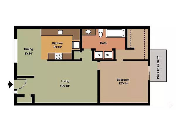 Aragon Apartments, 1 Bedroom Floorplan