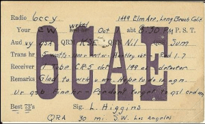 This QSL card was from the very first President of the club, Larry Higgins.
