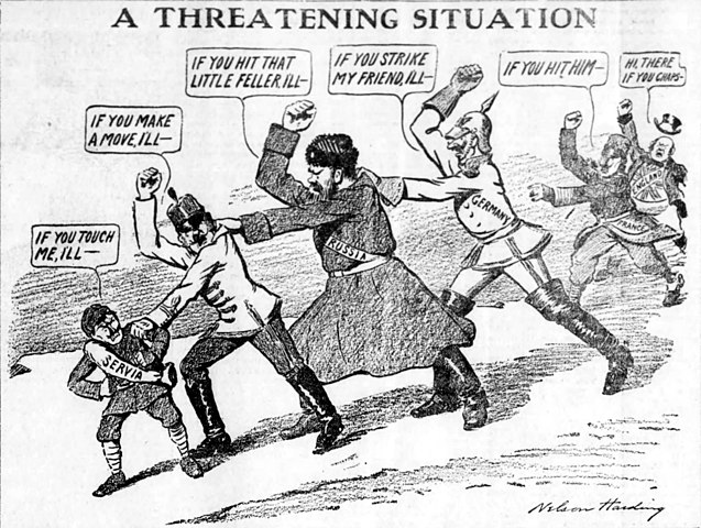 editorial cartoon referencing the great war
