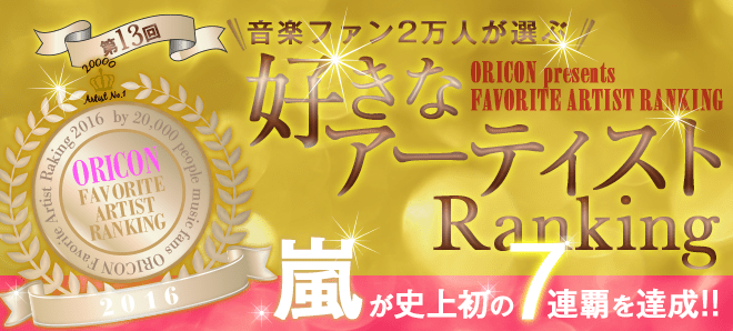 Oricon Releases Its Favorite Artist Ranking for 2016
