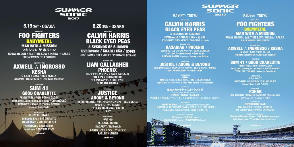 SUMMER SONIC 2017 lineup released! BABYMETAL to perform as second headliner