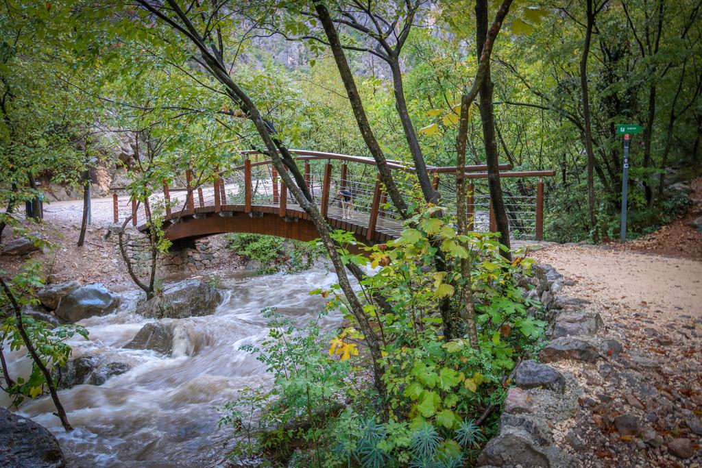 A footbridge arches over a picturesque stream