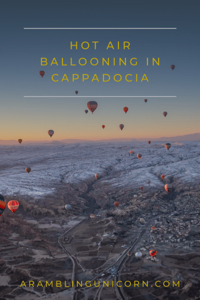 Interested in visiting Cappadocia? Riding a hot air balloon is a thrilling experience that should top everyone's bucket list. Read about my hot air balloon adventure at ARamblingUnicorn.com.