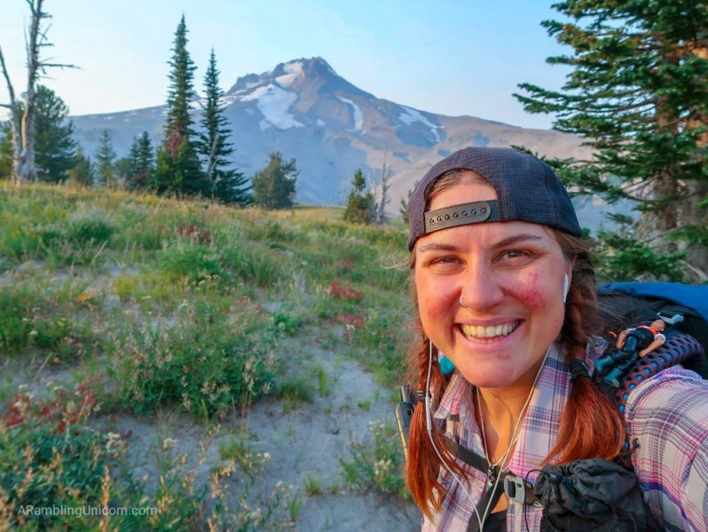 Unicorn's Pacific Crest Trail Blog: Selfie in front of Mt. Hood in Oregon.