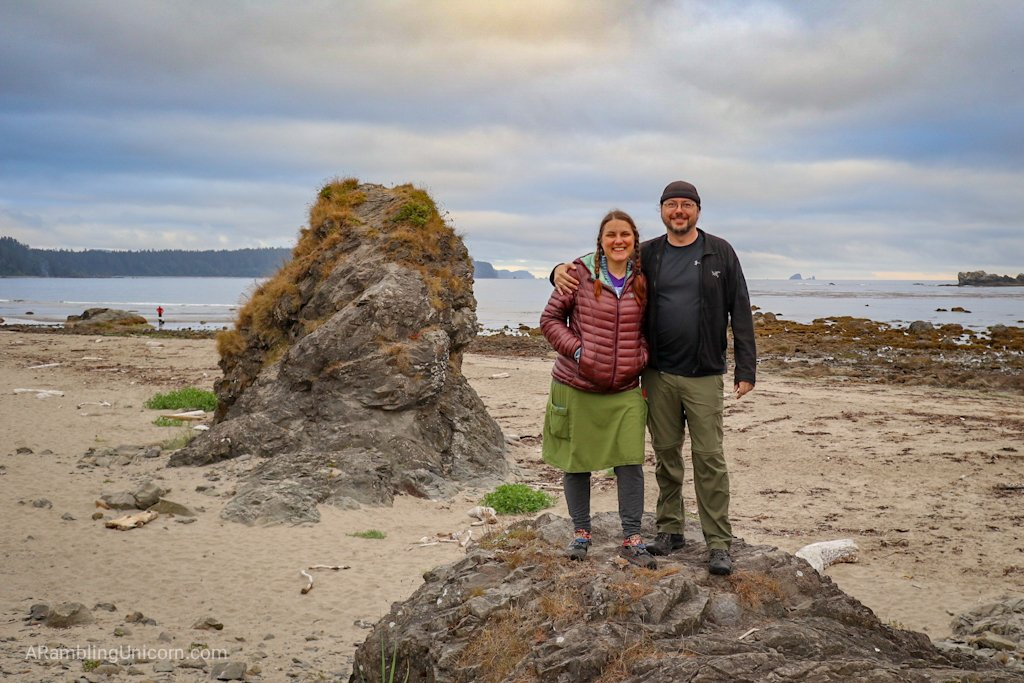 The author and her husband Daniel on the beach at the Ozette Triangle Loop Trail