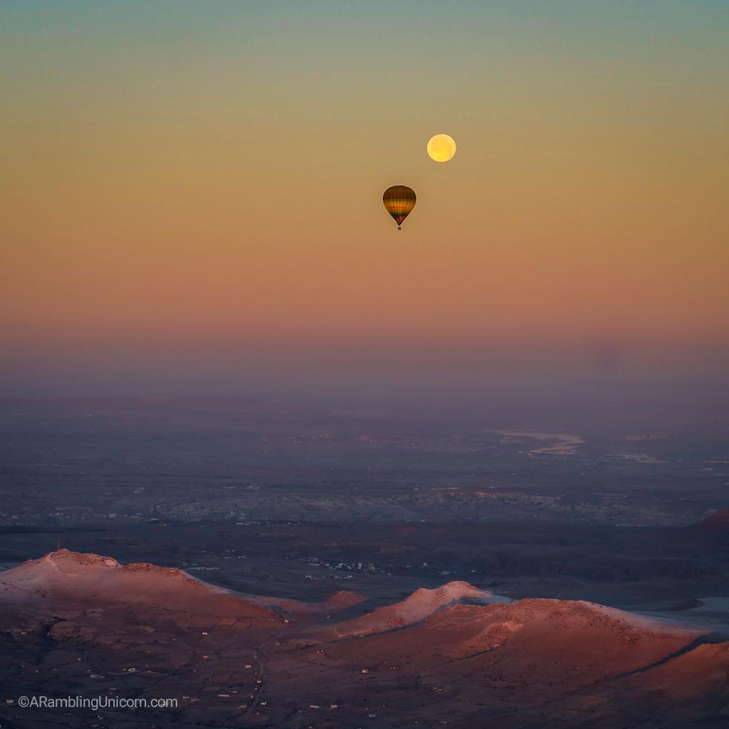 Cappadocia Itinerary Day 1: Hot air ballooning with a full moon at sunrise