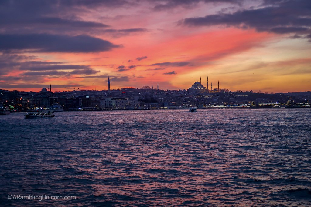 Bosphorus sunset with the Süleymaniye Mosque in the background.