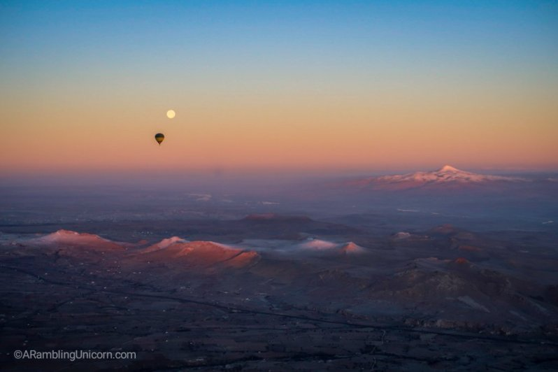 As the balloon rises in elevation we can see all the way to  Mount Erciyes.