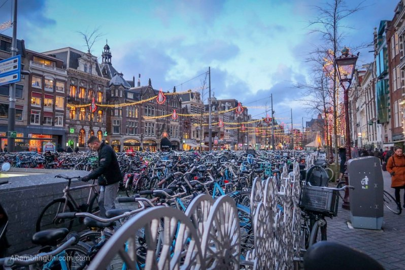 Amsterdam Blog: A huge bike parking lot near the metro station.