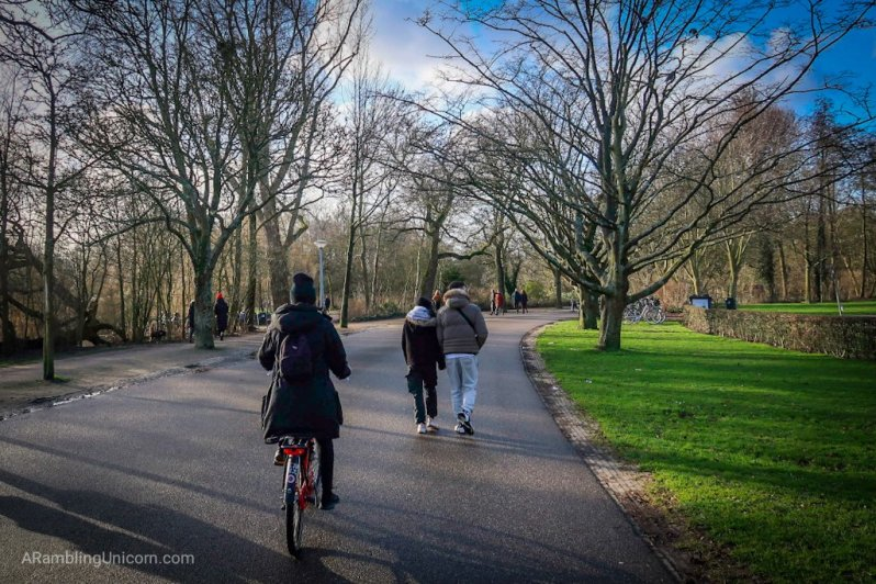 Amsterdam Blog post: I follow behind Katjia as we cycle through Vondelpark.