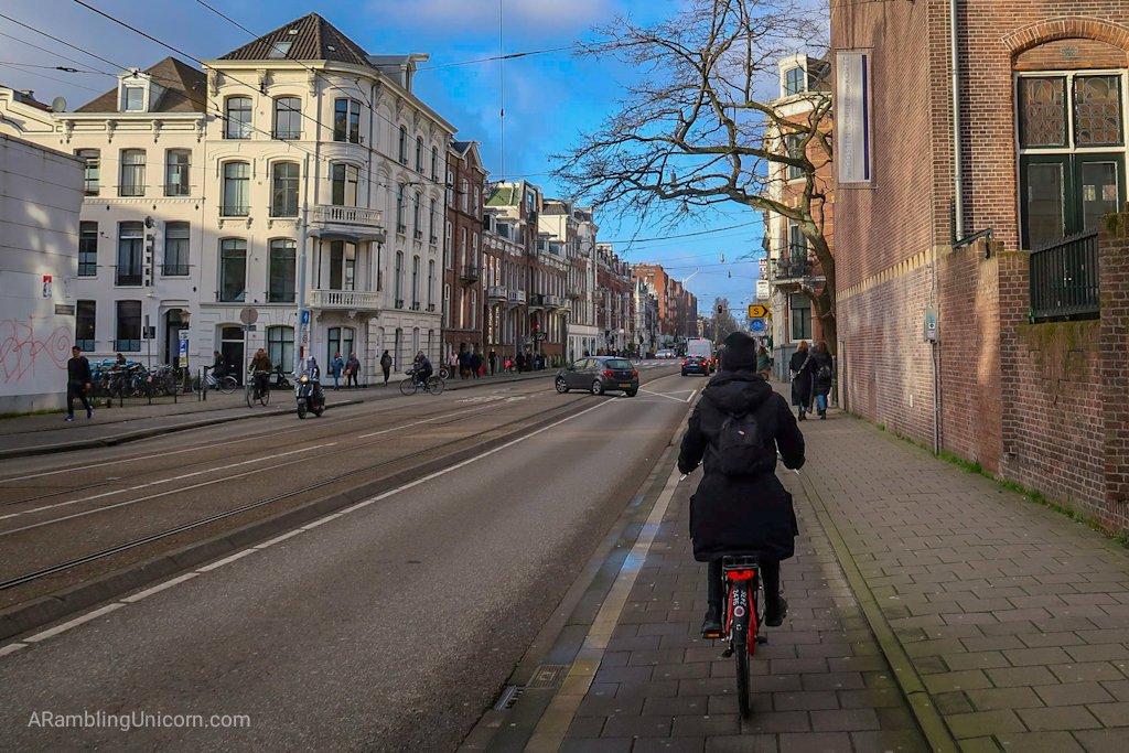Cycling in the bike lane as we return to the bike rental shop.