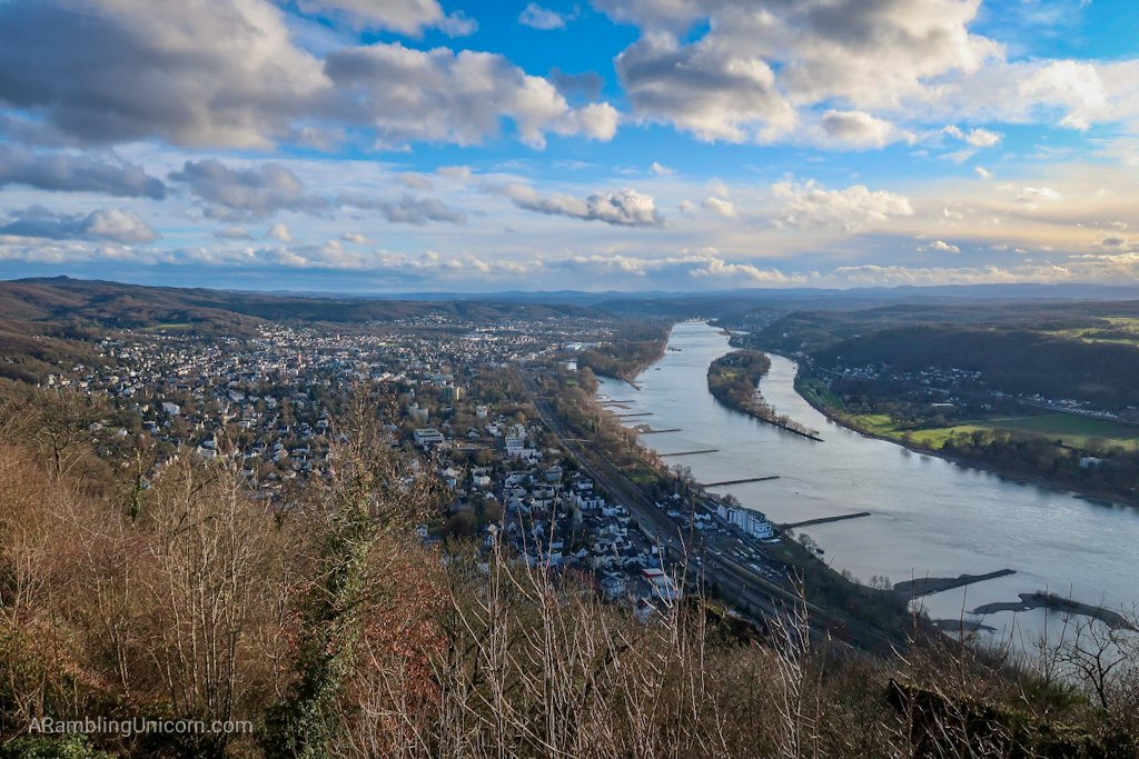 The view from Cologne Day Trip: Dragon Rock (Drachenfels) over the Rhine towards Bad Honnef