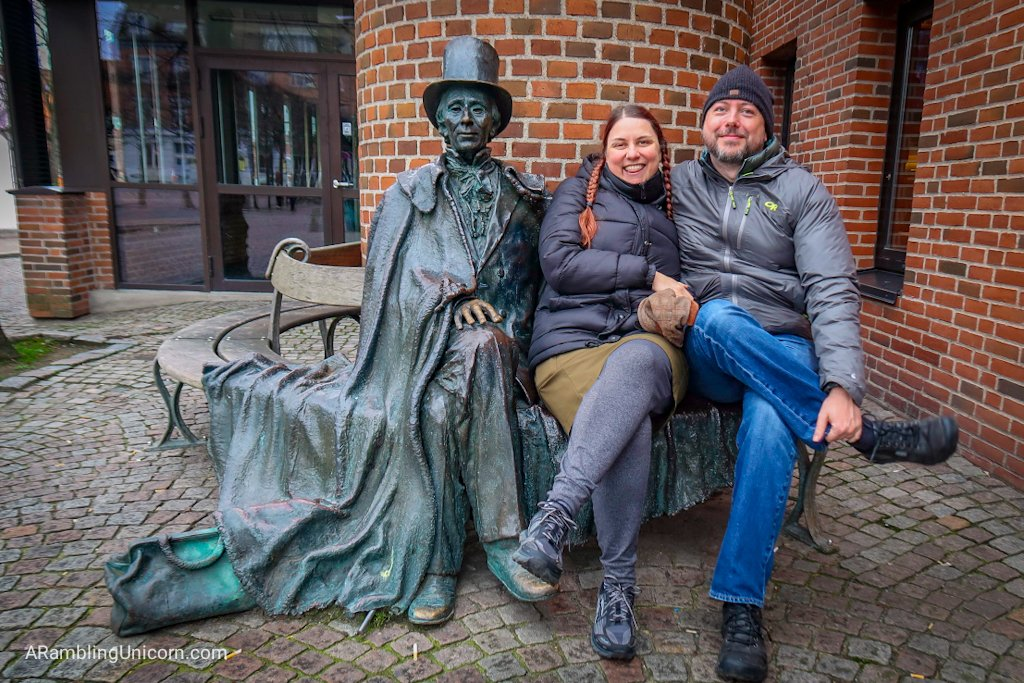 Odense blog: Daniel and I share a park bench with Hans Christian Andersen