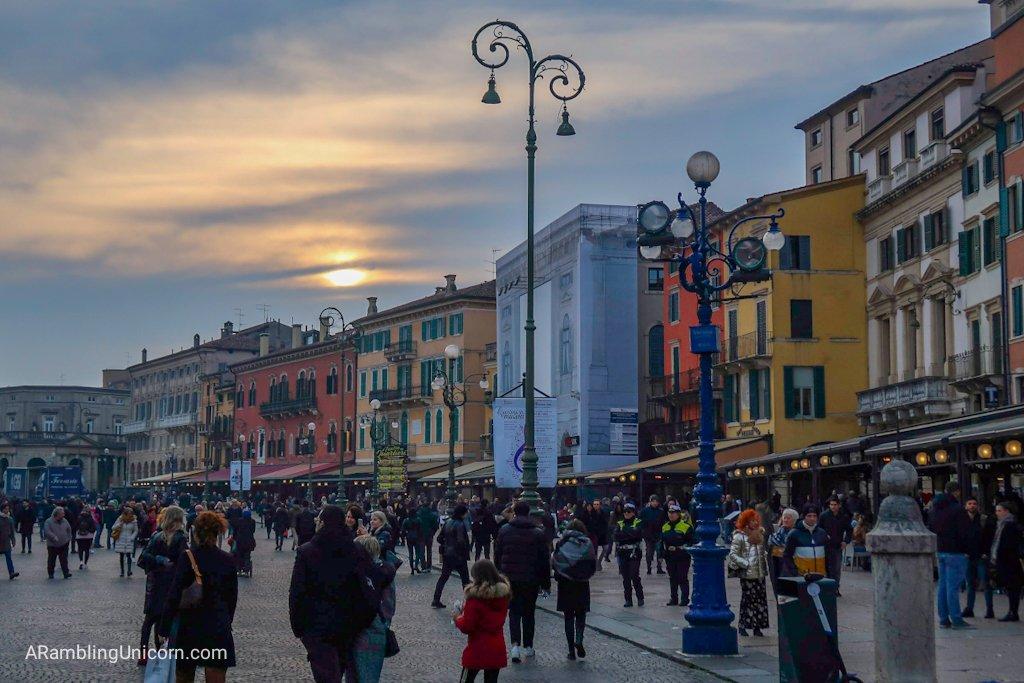 Verona in 24 Hours: Piazza Bra in Verona at Dusk