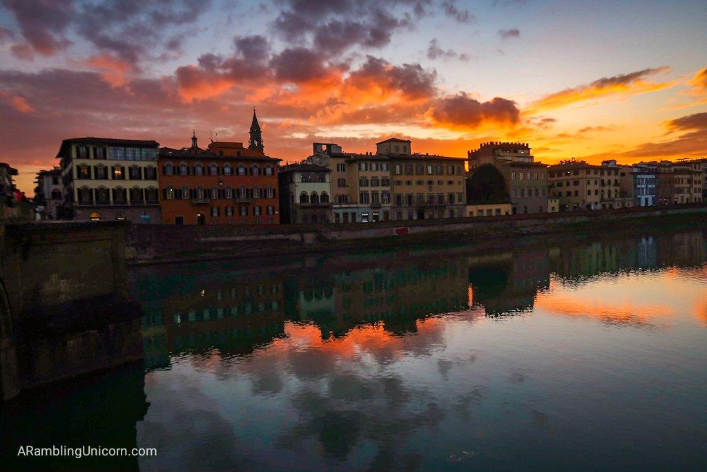 Florence 4 day itinerary: Sunset from Ponte Santa Trinita