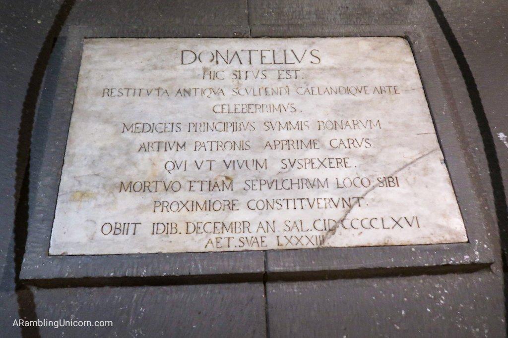 Donatello's gravestone located in the Basilica di San Lorenzo's crypt