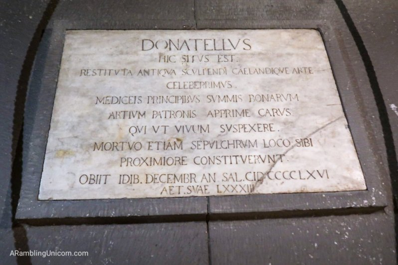 Donatello's gravestone located in the Basilica di San Lorenzo's crypt