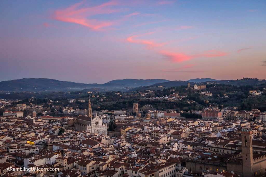 Sunset from the Duomo with the Basilica of Santa Maria Novella in the distancepg