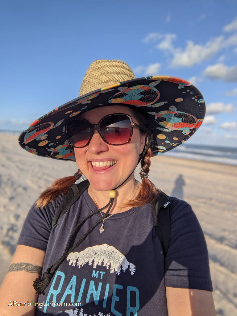 My South Padre Island vacation selfie with a new beach hat!
