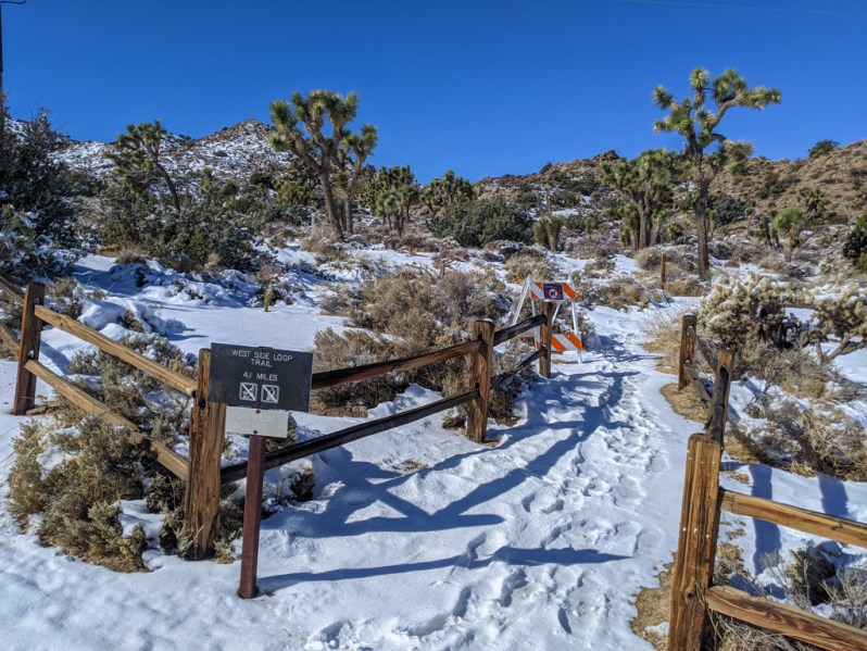 West Side Loop Trailhead covered in snow