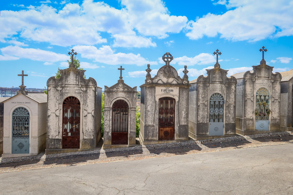 A collection of ornate mausoleums in the Cemetery Prazeres