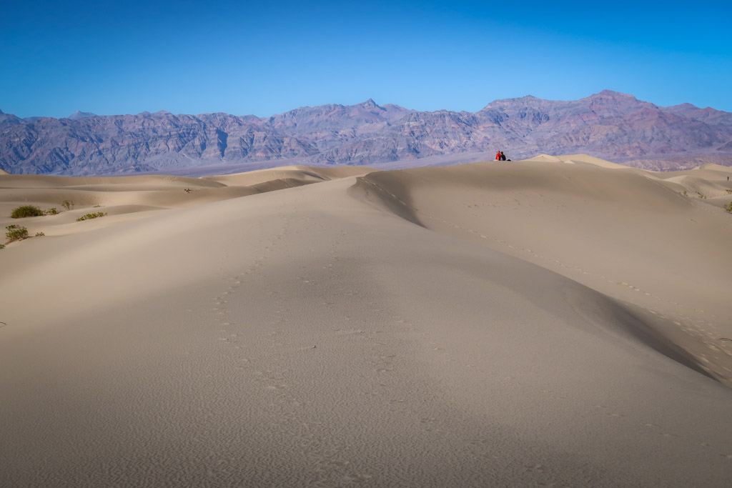 A couple sits on the ridge of an endless sea of sand dunes with mountains framing the horizon in the background