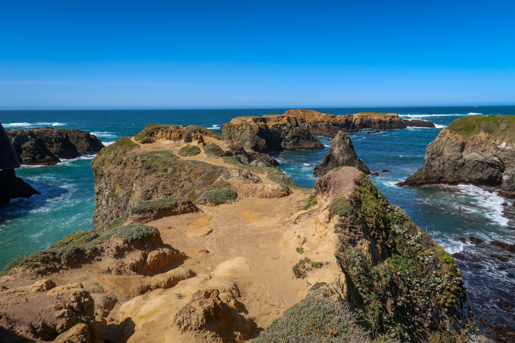 A vista point on an outcropping of rock at Mendocino Headlands State Park