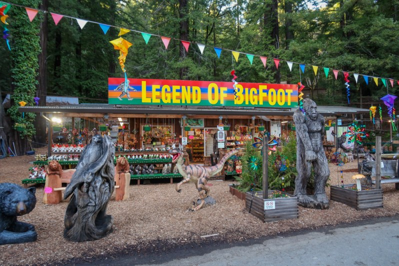 The Legend of BigFoot gift shop filled with knickknacks and kitcschy items and a great way to end a Northern California coast road trip