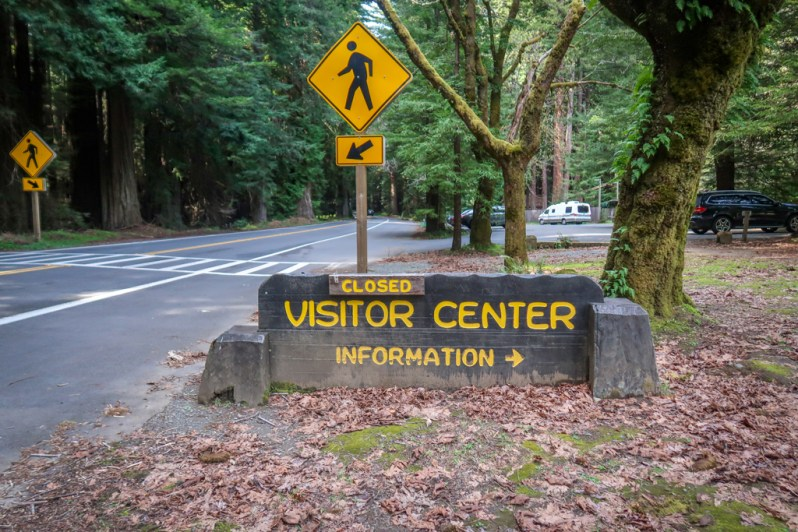 Road sign for the Humboldt Redwoods State Park Visitor's Center along the Avenue of the Giants auto tour