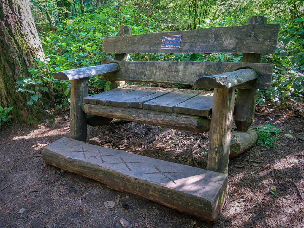 A large wooden bench with a wooden foot rest in a wooded area on the side of a hiking trail