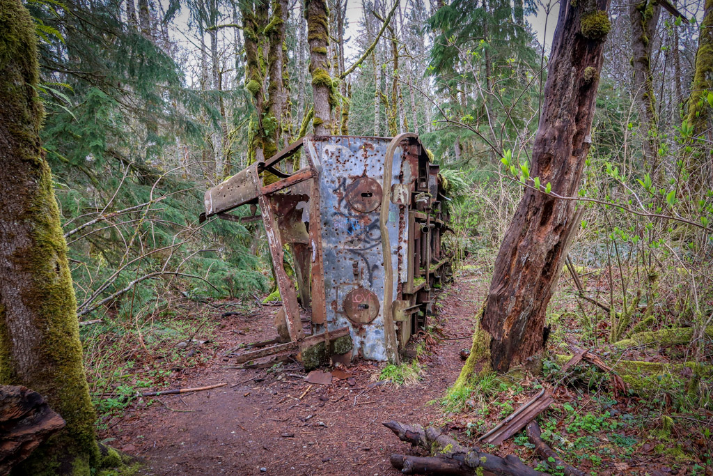 The rusting remains of an old school bus lie along the side of the trail