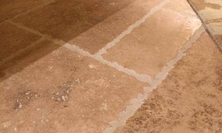 Close up of new Travertine floor in Castia
