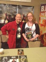 Author, Araminta Star Matthews with Artist, Mike Mignola, Creator of Hellboy and cover-artist for Slices of Flesh