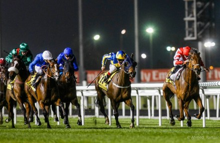 Sheikhzayedroad(GB)(rght-red), ridden by the jockey Martin Lane, on its way to win the Dubai Duty Free Golf World Cup race sponsored by Dubai Duty Free, at Meydan, Dubai.