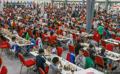 Competitors playing at WOrld Youth Chess Championships in UAE University, Al Ain.