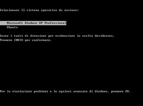 Menù del bootloader di Windows