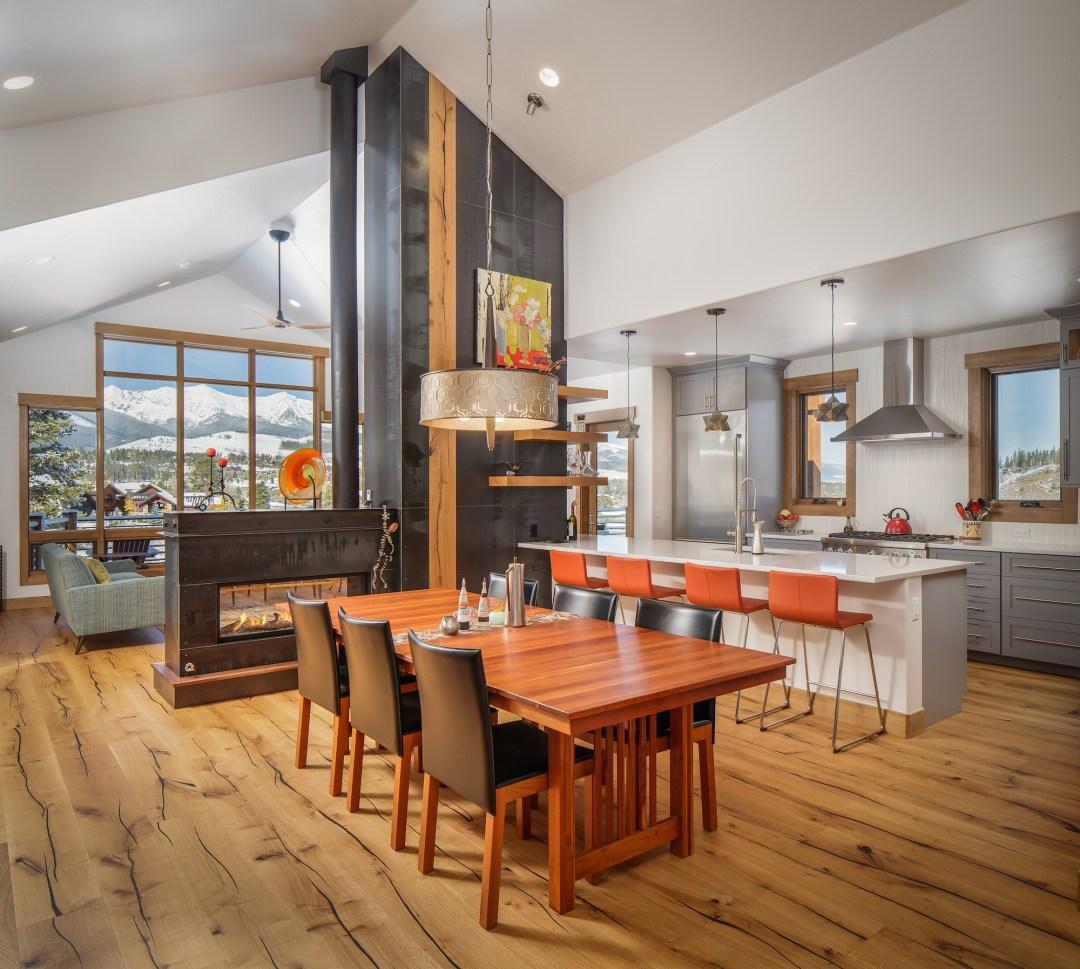 Breckenridge Highlands Modern Kitchen and Fireplace