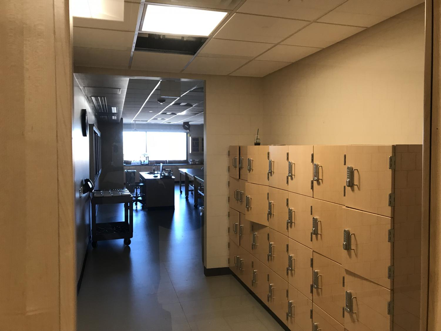 Students now get storage space for their belongings outside of the new science labs. The renovation to the third floor of ACC's main building on the Littleton campus was recently completed.
