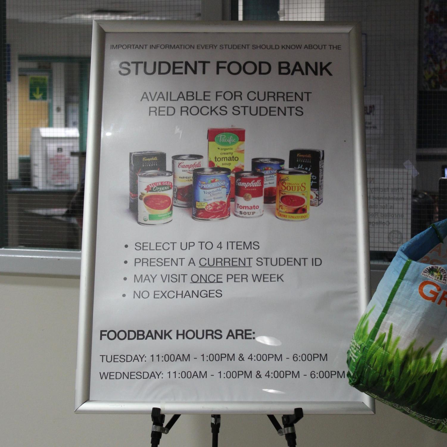 A sign informs students of the food bank's rules and hours at Red Rocks Community College in Lakewood, Colo., April 18, 2018. Food banks are one way colleges can fight food insecurity on their campuses.