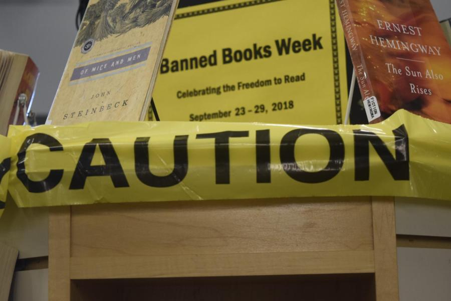 Banned+book+week+stand+in+Littleton+Colo.%2C+at+the+Edwin+A.+Bemis+public+library%2C+Sept.+24%2C+2018.