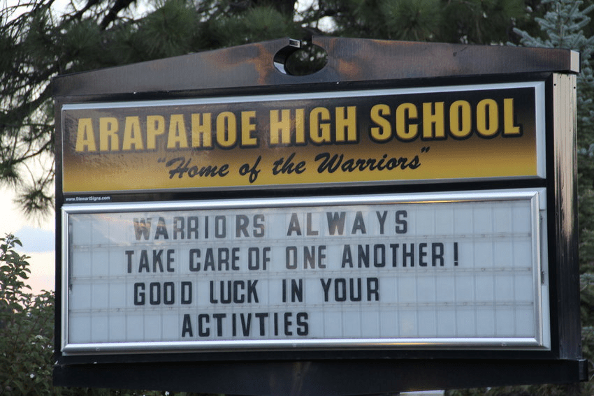 The+sign+outside+Arapahoe+High+School+on+October+4