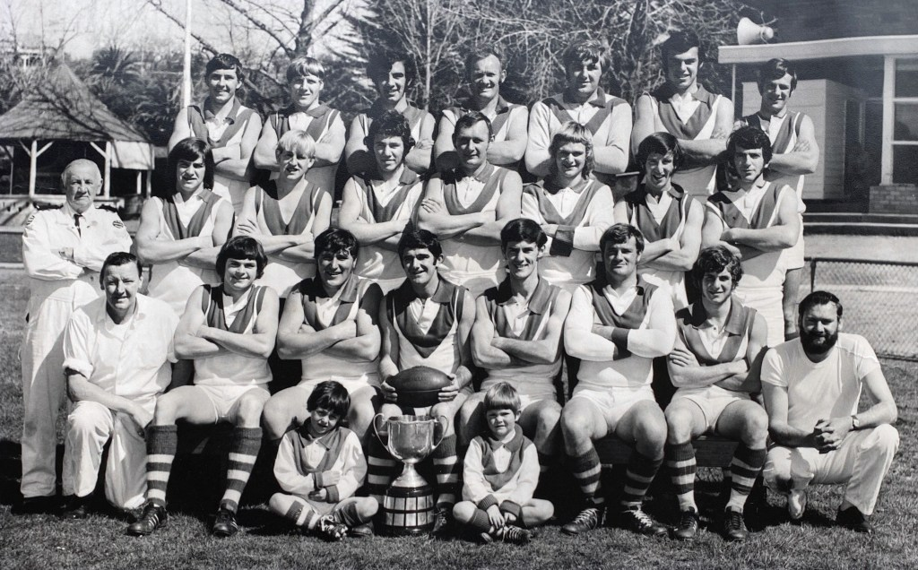 1971 Senior Centenary Premiers Back: Leo Mooney, Victor Barwick, Peter Gemmola, David Thomas, Kevin Westrup, Bruce Armstrong, Peter Dohnt Middle: Lew Ford (First Aid), Kevin Dohnt, Peter Christie, Graeme Dreher, Dick Thomas, Geoff Castles, Dick Christie, Garry Studd Front: Tom Creenaune (Trainer), Ian Clark, Graeme Sladdin, Kevin Tassell (Captain / Coach), Bill Allgood, Laurie Stephens, Greg Kent, Bruce Potter (Trainer) Mascots: