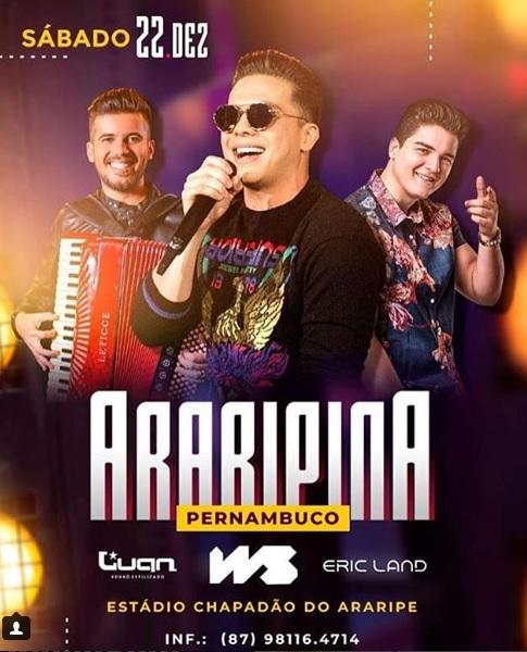 Ingressos do show de Wesley Safadão em Araripina estão voando