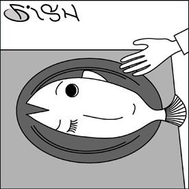 魚とわたし、だまし絵