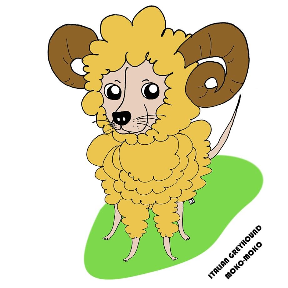 2015年の干支は羊だから、イタグレ「モコモコ羊」を着る